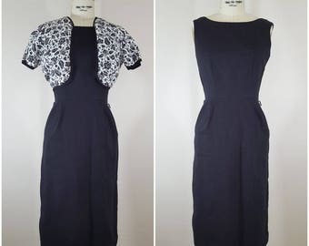 Vintage 1960s Black Dress and Jacket / Fitted Dress / Wiggle Dress / XS