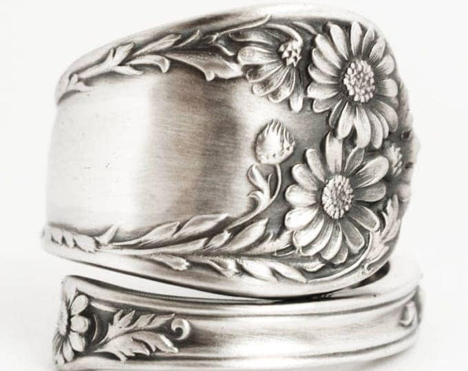 Daisy Ring, Sterling Silver Spoon Ring, Daises Flower Ring, Handmade July Gift, 5th Wedding, Adjustable Size, International (6898)