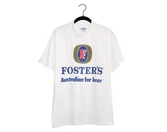 Vintage FOSTER'S Australian for Beer White Super Soft Crewneck T-Shirt, Made in USA - Medium
