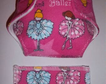 Baby Doll Diaper/wipe -Ballerinas on bright hot pink  - adjustable for many dolls such as bitty baby