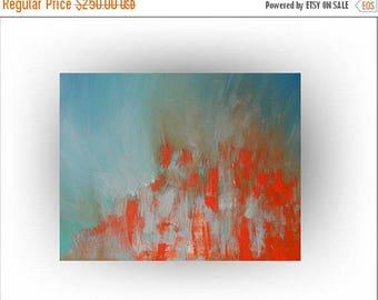 ON SALE Modern Abstract Painting Palette Knife Minimalist Blue and Orange Art -Rhapsody in Orange -24 x 30 - Skye Taylor