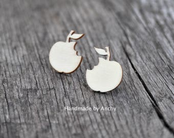 Wooden apple with a bite silver plated stud earrings*