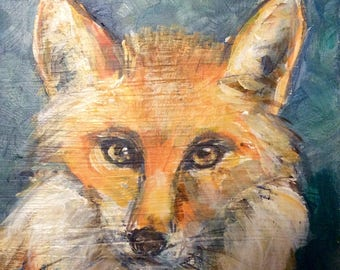 Fox 6 Painting Red Fox  woodland animals painting original art 6 x 6""