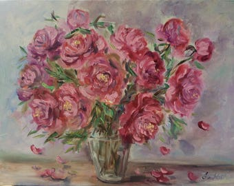 Peonies flowers  Oil original floral painting  18 x 24""