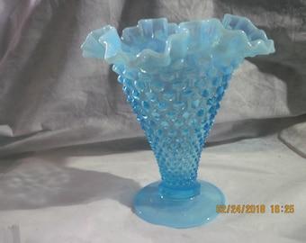 Vintage Fenton Blue Hobnail Opalescent Vase