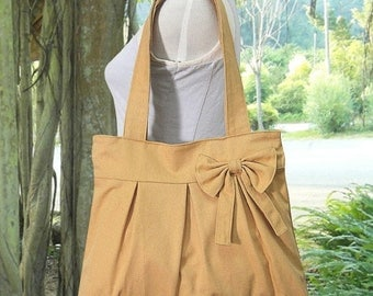 On Sale 20% off yellow cotton canvas purse with bow / tote bag / shoulder bag / hand bag / diaper bag - zipper closure