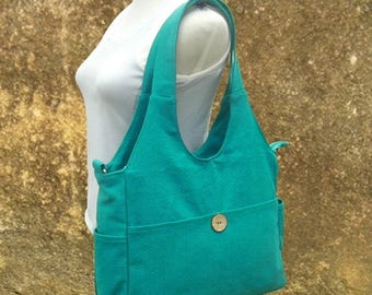 On Sale 20% off turquoise canvas hand bag, canvas messenger bag, diaper bag, tote bag for ladys