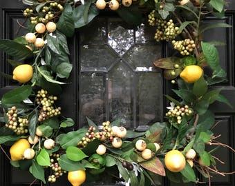 Lemon Wreath, Fall Wreath, Front Door Wreath, Kitchen Wreath, Year Round Wreath, Designer Wreath,