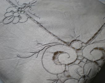 Vintage White Linen Square Tablecloth with Tan Embroidery