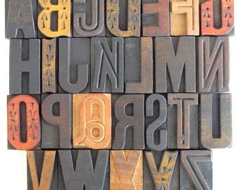25% OFF -A to Z - Vintage Letterpress Wood Type Collection - VG09