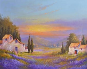 The Lavender Fields Of Provence. Original Oil Painting On Canvas. Size 50 x 40 cms. Price 248 dollars
