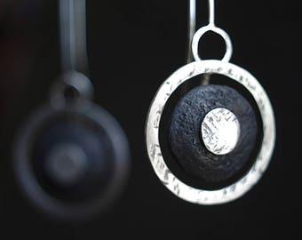 Moonglazing:  Circular mixed materials earrings, geometric raw raku modernist 925 primitive tribal chic