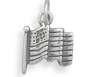 American Flag Charm Stars and Stripes Sterling Silver Pendant