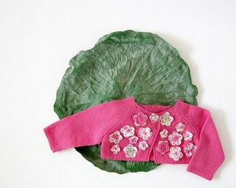 ON SALE Knitted little baby coat in pink full of flowers. 100% cotton. READY To Ship size newborn.