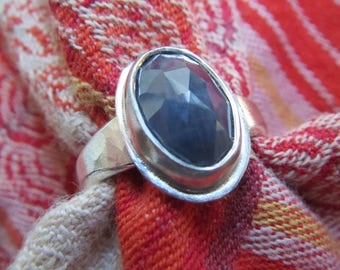 Blue Sapphire Rose Cut Oval in Argentium Sterling Ring Size 6