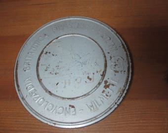 """Encyclopedia Britannica Movie Reel Can Tin,Diameter 7"""", Tin Canister ONLY"""