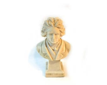 ON SALE Vintage large cream cast composite bust of Beethoven, collectible bust classical pianist Beethoven