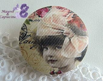 Fabric button, retro girl, 1.25 in / 32 mm