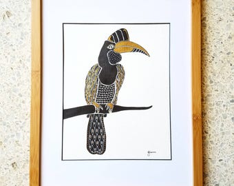Crowned Bird Ink Painting Illustration with Metallic Gold Details // Wildlife Art // Bird Lover Gifts