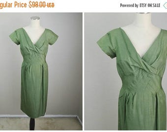 Summer SALE - 20% off - vintage 50s olive green wiggle pencil hourglass dress -- womens 36-27-38