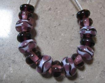 Lampwork Glass Bead Set. Purple and Amethyst Waves and Dots. Handmade Glass Beads. Australian Artisan Glass Beads. Kiln Fired Glass Beads.