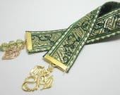 Gold Dragon Ribbon Bookmark Fantasy Medieval Bookmark Green and Gold Tapestry Ribbon Green Czech Cathedral Beads Leaf Charm 142B