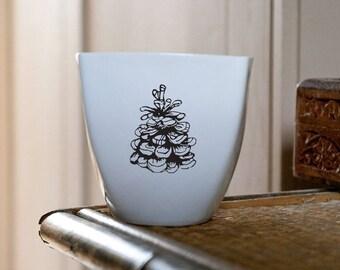 Pine Cone Mug, Ceramic Mug, Handmade Coffee Mug with Cone Drawing