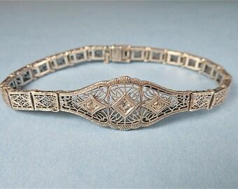 Antique Art Deco Sterling Filigree Bracelet (No. 1410)