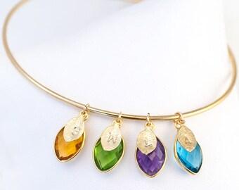 Custom Birthstone Bangle For Mom - Mother's Gift - Initial Bracelet - Custom Bracelet - Family Bracelet - Bridesmaids Gift