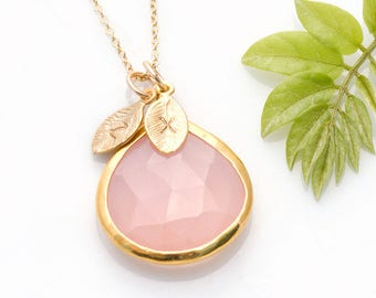 Custom Birthstone Necklace, Personalized Name Jewelry, Pink Necklace Gold, October Birthday Gift, Tear Drop Stone, Christmas Gift for BFF