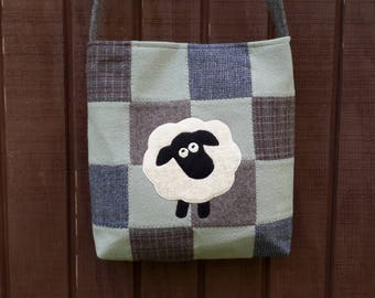 Wool patchwork bag,sheep wool purse
