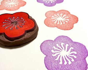 """A Flower Stamp - Hand Carved Rubber Stamp - 2"""" x 2"""" - Made to Order"""