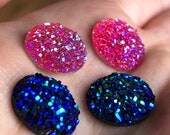 Faux Druzy Findings - Round druzy cabochons - glitter resin cabochon - 12mm - Pairs