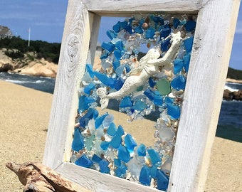 reaching mermaid in blue and teal beach glass