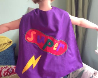 Personalised super cape size small ( 1-3 years)