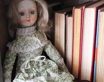 Creepy Weird Vintage Wanda Doll Ceramic with Cloth Body