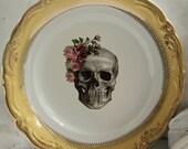 Rose Skull Plate, Silver or Gold, Skull Dish, Skeleton Dinnerware, Skull China, CUSTOMIZABLE, Wedding Skull China, Skeleton China, Halloween