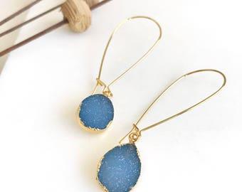 Druzy Drop Earrings. Dangle Earrings. Purple Teardrop Druzy Earrings.  Purple Dangle Earrings. Gift. Druzy Jewelry. Gift.