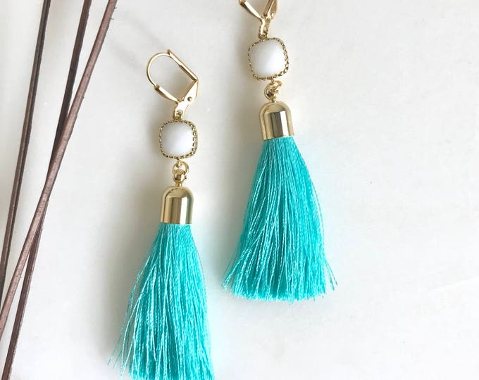 Turquoise Tassel and White Square Stone Tassel Earrings.  Long Tassel Earrings.  Gold Statement Earrings. Holiday Tassel Jewelry. Gift.