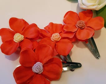 Moana Inspired Snap Clip. Hair Accessories for girls. Birthday Party accessory. Flower clip