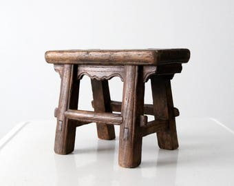 antique Chinese stool, small wooden riser