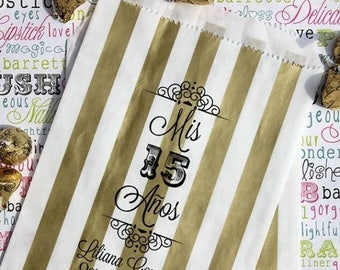"""GLAM SALE 50 Personalized Quinceanera Favor Bags, """"Mis 15 Anos"""", Sweet 15 Custom Printed Favor Bags, Candy Bags, Cookie Bags, Popcorn Bags"""