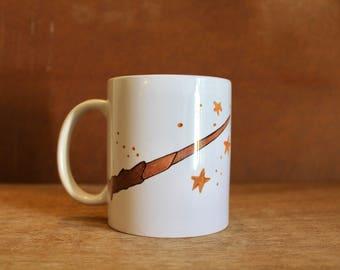 Accio Coffee! - Harry Potter Inspired Ceramic Mug - Heat-Press Sublimation of Original Artwork - 12 oz white mug with Harry's wand