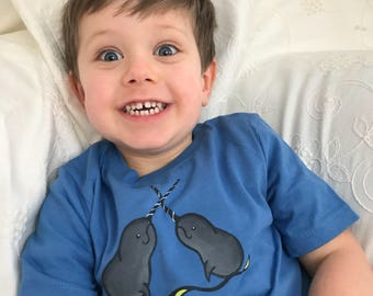 Narwhal childrens t shirt /a available in 4T or 6T  Hand Painted on Organic cotton/ washable