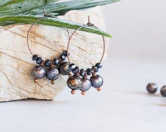 Dainty Hoop Earrings, Faceted Peacock Pearls, Boho Jewelry, Gemstone Earrings,