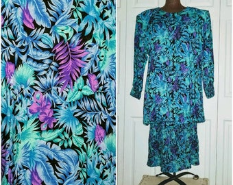 In Living color .. Vintage 80s dress / sack suit midi  / drop dropped waist / bubble balloon / avant garde tropical ... L XL XXL