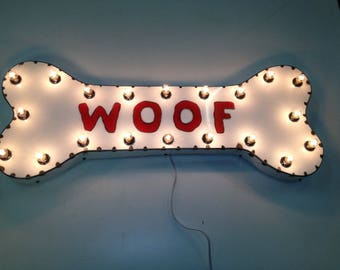 """Large White """"WOOF"""" Dog Bone Industrial Metal Sign Light Letters Marquee Art Wall sculptures"""