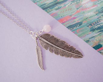 Feather Necklace, Feather Charm, Gemstone Feather Necklace, Long Feather Pendant, Rose Quartz Feather, Silver Feather, Feather Jewellery