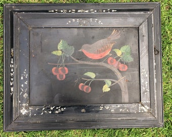 A Primitive Antique Wood Eastlake Wall Pocket With Cherries & A Bird Painting