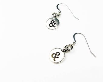 Ampersand Jewelry - & Sign or Symbol Earrings for Author, Writer and English Teacher Gift